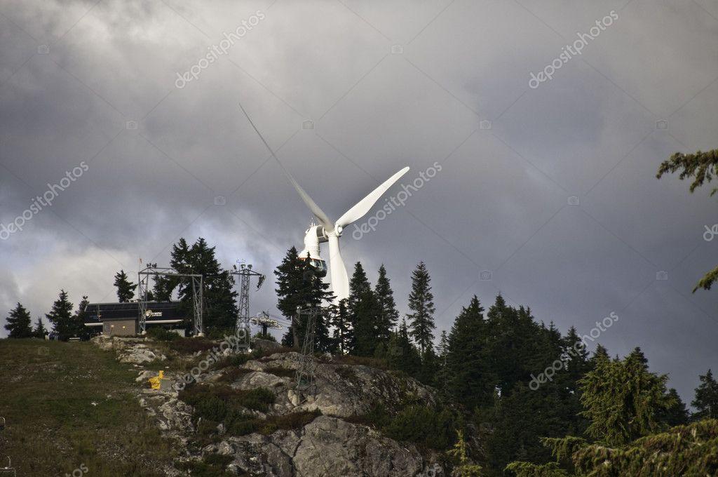 Huge wind turbine on grouse mountain — Stock Photo © depositfrank ...