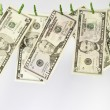 Line of US dollars — Stock Photo
