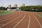 Track lanes close to a turn — Stock Photo