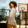 Girl on basketball platform — Stock Photo
