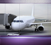 Passenger plane at the airport — Stock Photo