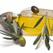 Stock Photo: Olive oil bottle and olives.