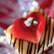 Cake Topped with Heart and Flowers — Stock Photo #2575934