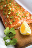 Salmon on a Cedar Plank — Stock Photo