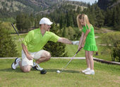 Father and Daughter Golf Lesson — Stok fotoğraf