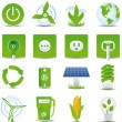 Green energy icon set - Stok Vektör