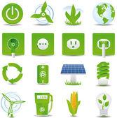 зеленая энергия икона set — Cтоковый вектор