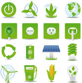 Green energy icon set — ストックベクタ