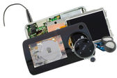 Cracked disassembled audio video player — Stock fotografie