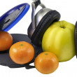 Fruit and CD Player — Stock Photo