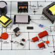 Stock Photo: Electronic components, electric scheme
