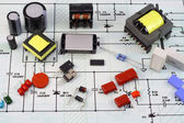 Electronic components, electric scheme — Stock Photo