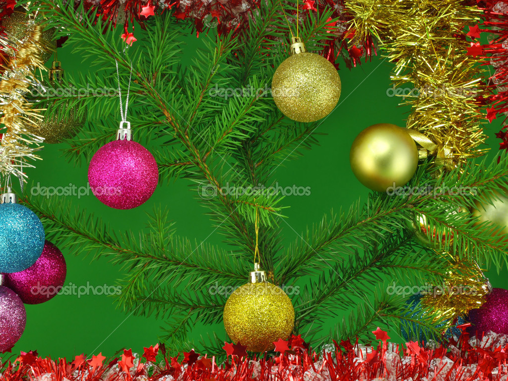 Gold, red and blue New Year's spheres balls  on a green fur-tree branch. — Stock Photo #2656107