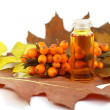 Stock Photo: Sea-buckthorn berries and medical oil