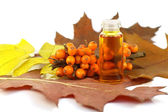 Sea-buckthorn berries and medical oil — Stock Photo