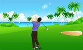 Hombre jugando al golf — Vector de stock