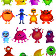 Stock Vector: Collection of cute little monster