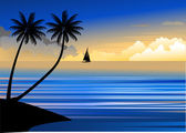 Tropica beach sunset — Vector de stock