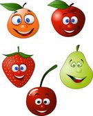 Dessin animé drôle de fruit — Vecteur