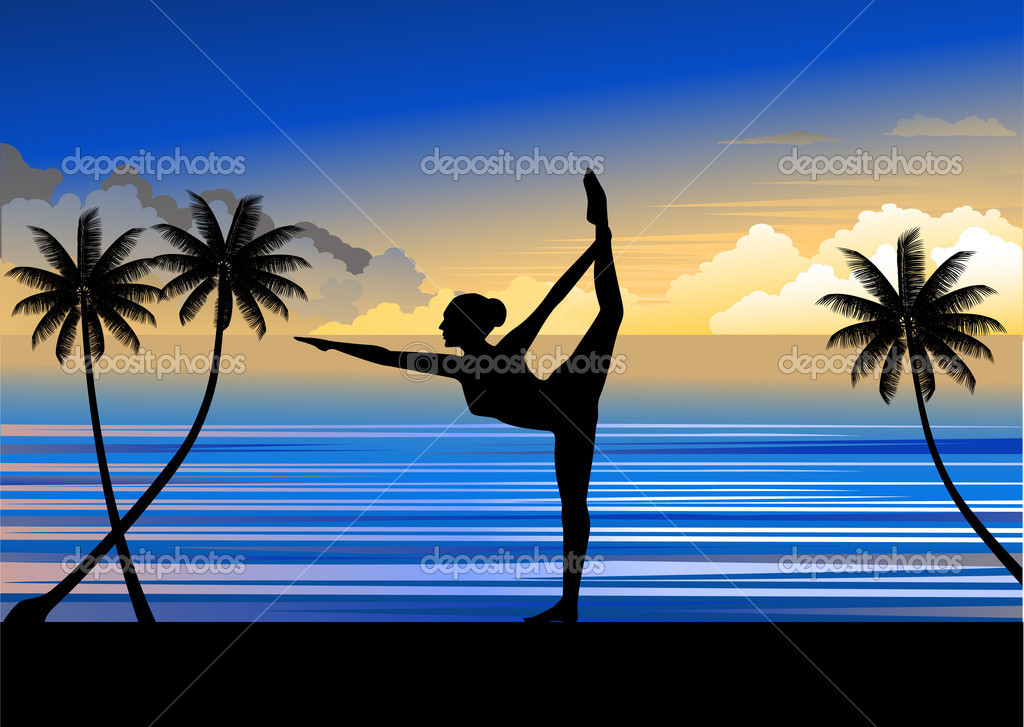 A woman doing yoga at a beautiful beach  Stock Vector #2664691