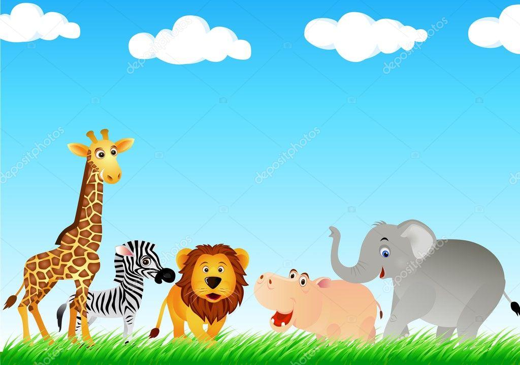 可爱的动物卡通 — 图库矢量图片