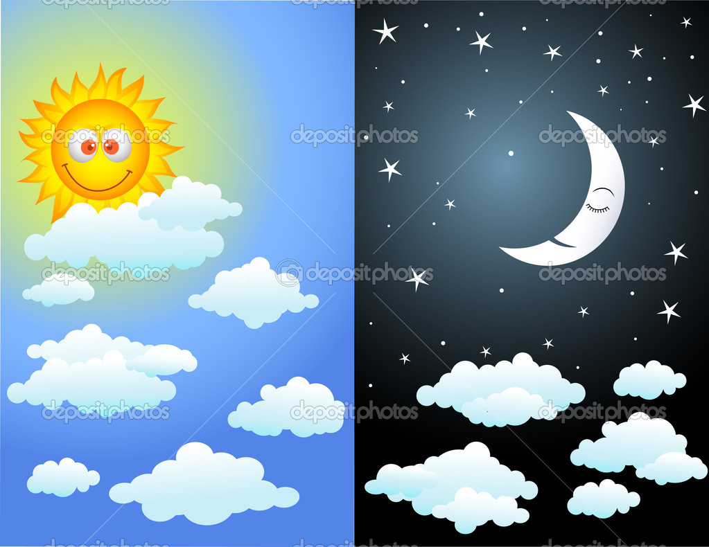 Day and night earth clipart