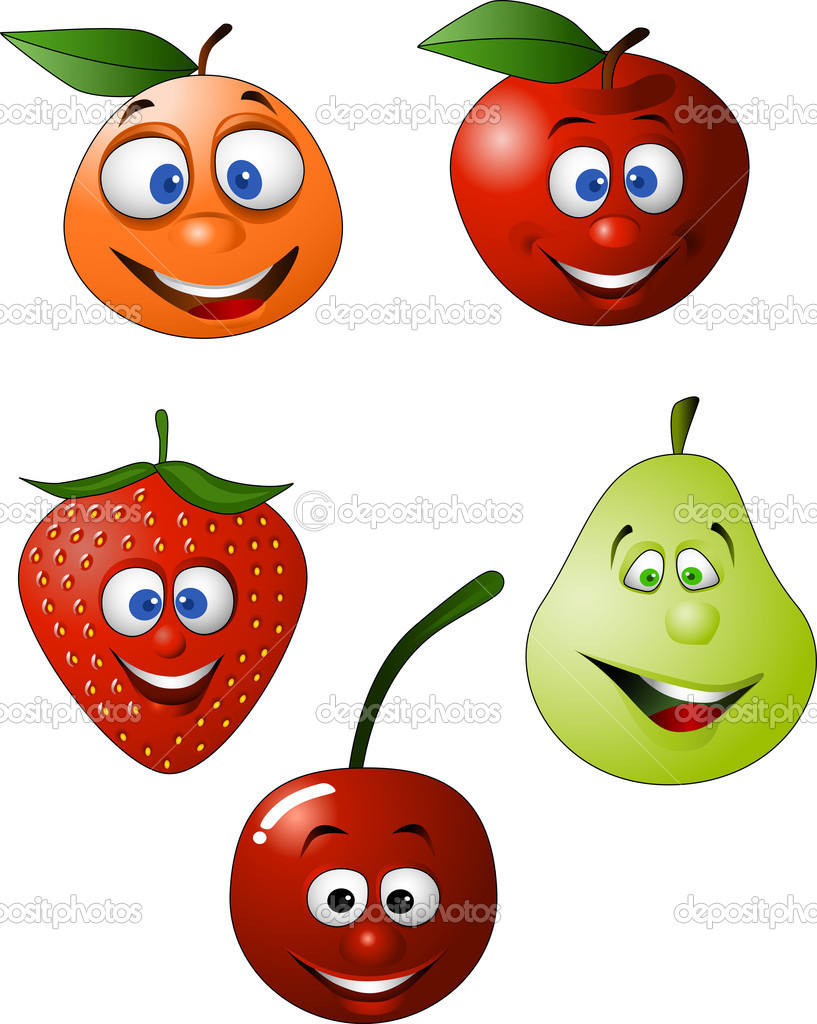 Funny fruit cartoon stock illustration