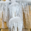 Foto Stock: Icicles on gutter