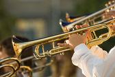 Gold trombones — Stock Photo