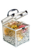 Opened box with decorations — Stock Photo