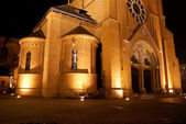 Church at night in Poznań — Stock Photo
