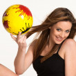 Постер, плакат: Young girl with a yellow ball