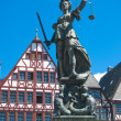 Justitia, Bronze Sculpture in Frankfurt - Stock Photo