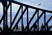 Silhouette of a bridge — Stock Photo