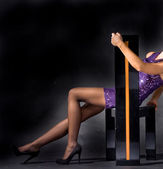 Pembe elbiseli seksi bayan — Stok fotoğraf