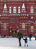 Moscow the red square with Soviet Soldier — Stock Photo