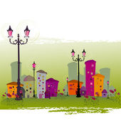 Cute illustrated abstract city — Stock Photo