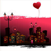 Illustrated romantic city and cute girl — Stock Photo