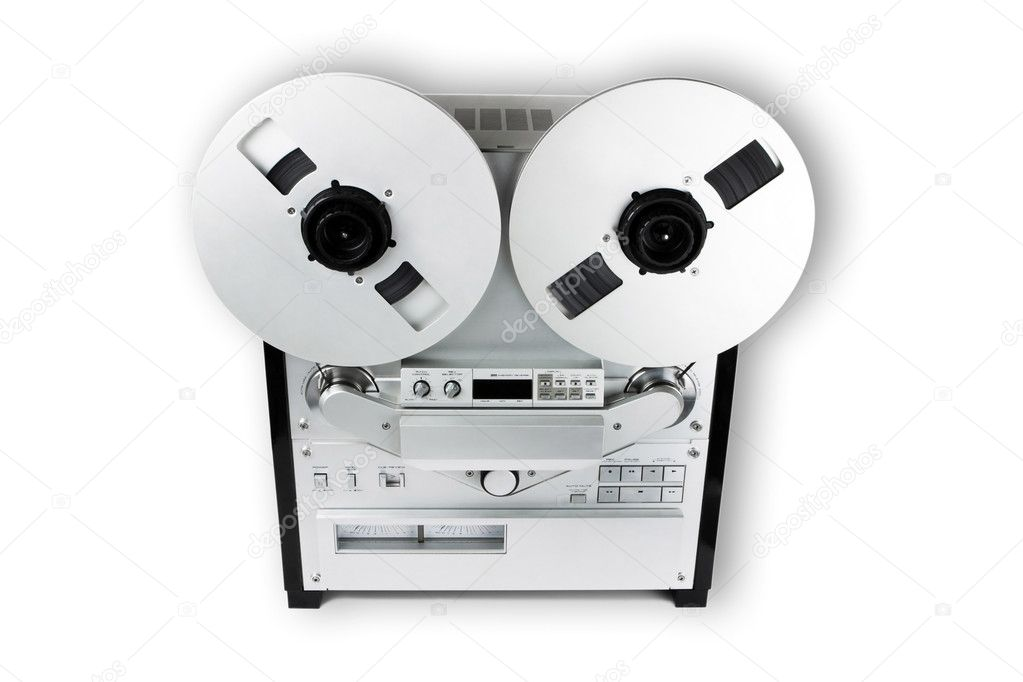 Old Audio Tape Recorder, isolated on white — Stock Photo #2660087