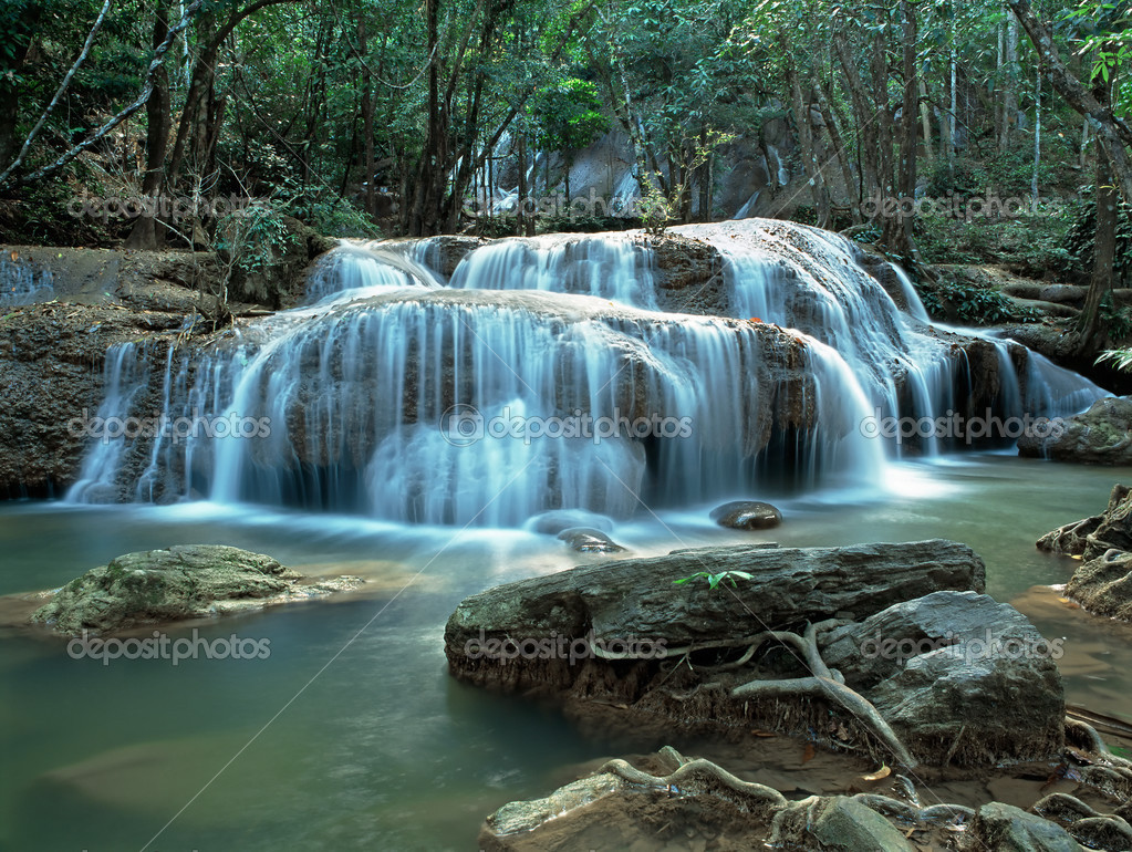 Panoramic view on famous Thailand waterfall — Stock Photo #2651896