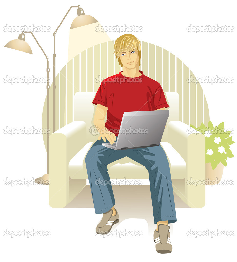 Vector illustration of a young man who sits in a chair and works at the computer. Illustration isolated on white background. — Stock Vector #2606982