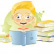 Royalty-Free Stock Vector Image: Boy reading a book