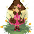 Little witch on white background — Stock Vector