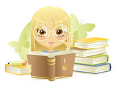 Girl reading the book — Stock Vector