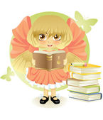 Little girl reading a book — Stock Vector