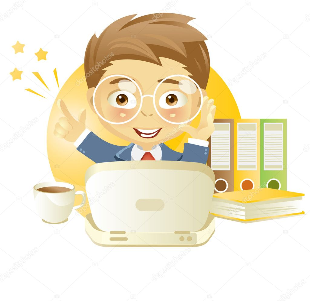 Vector illustration of a young man working at a computer isolated on white background.  Stock Vector #2667406