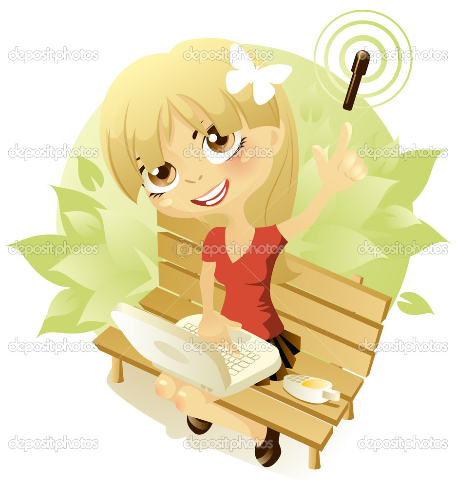 Vector illustration of a girl who sits on a bench and uses Wi-Fi on her computer. Illustration isolated on white background.  Stock Vector #2668332