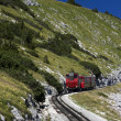 Royalty-Free Stock Photo: Red train in the mountains