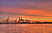 Harbor sunset — Stock Photo