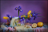 Still life with blue irises — Stock Photo